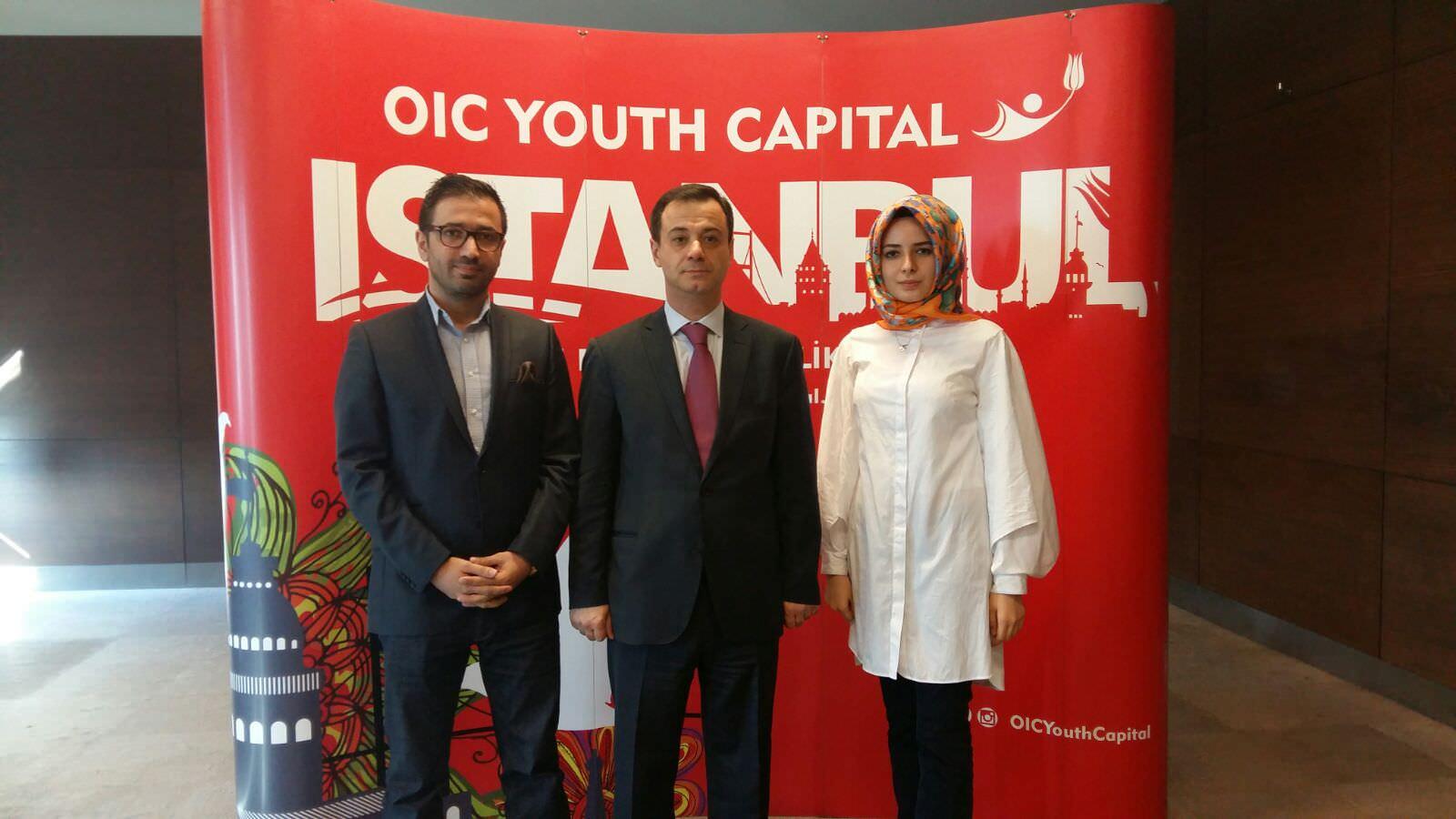 Daily Sabah's Mehmet Çelik (L) and Esra Biçer (Right) with Ambassador Elshad Iskandarov