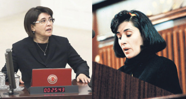 Leyla Zana taking her oath in 2015 L and 1991