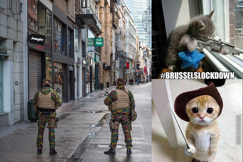 Belgian soldiers patrol in Rue Neuve, the busiest shopping street in Brussels, now empty, 22 November 2015 (EPA photo)