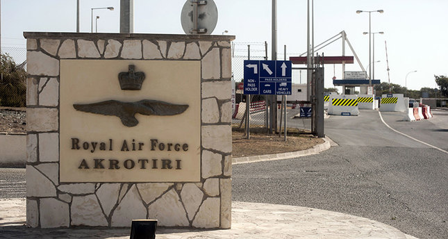 This file picture taken on October 21, 2015 shows the entrance to the British Royal Air Force base of Akrotiri in Cyprus (AFP photo)