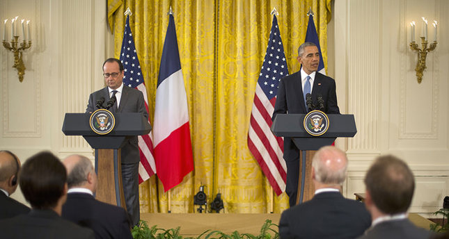 Obama and Hollande held a joint press conference at the White House. (AP Photo)