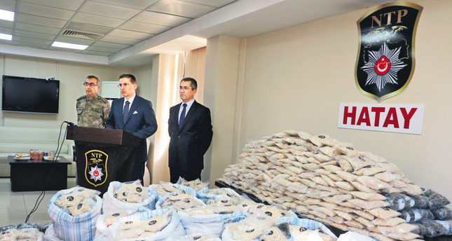 Officials showing millions of Captagon pills seized in the city of Hatay last week. The abuse of synthetic drugs is prevalent in Turkey although overall drug use is low.