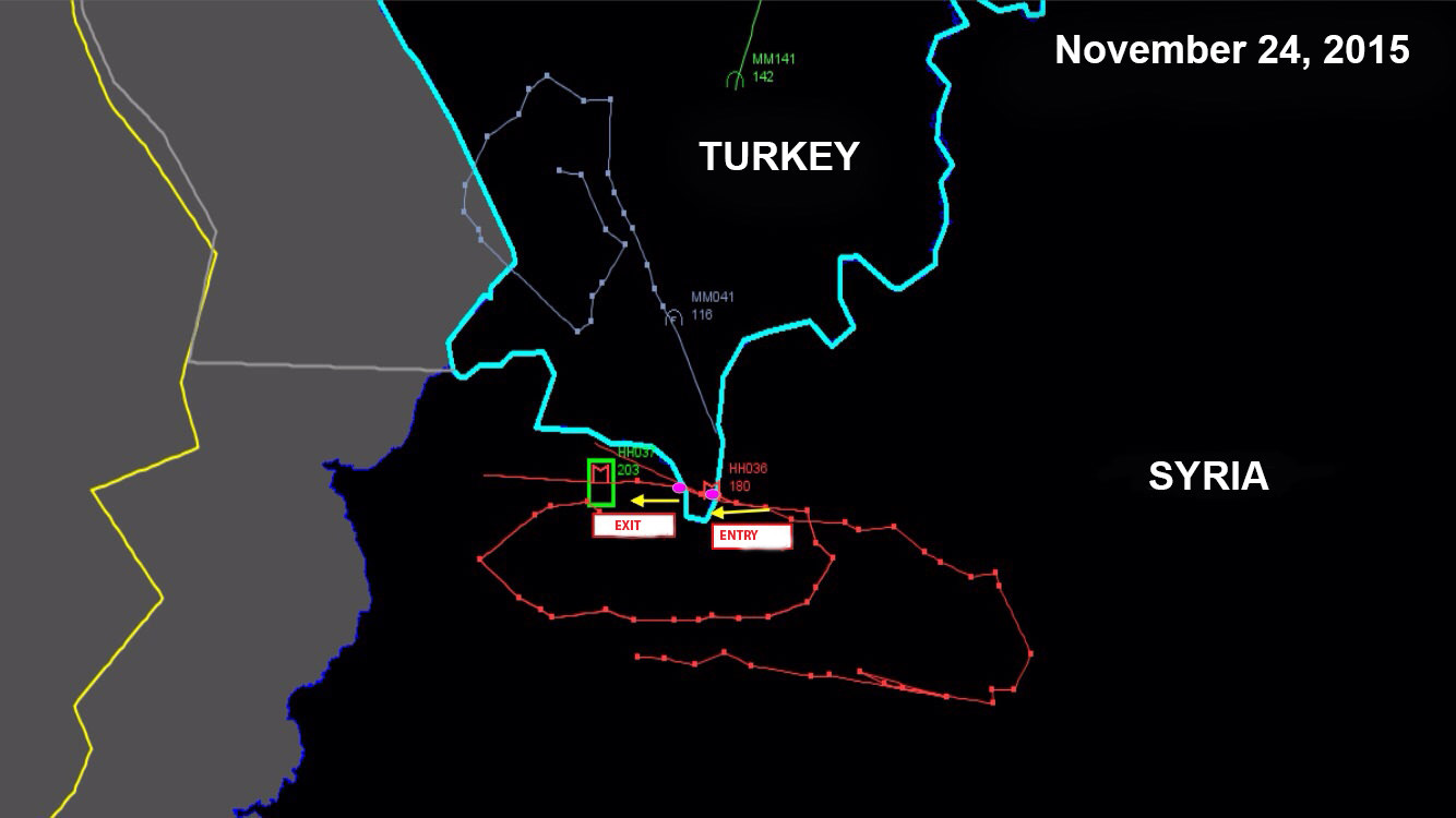 Original path analysis (red dotted line) of the downed Russian jet in violation of Turkish airspace provided by Turkish Armed Forces