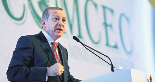 President Erdoğan at a televised meeting of the Standing Committee for Economic and Commercial Cooperation of the Organisation of Islamic Cooperation on Wednesday.