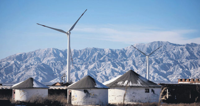 Wind turbines in Guanting, outside of Beijing, China.