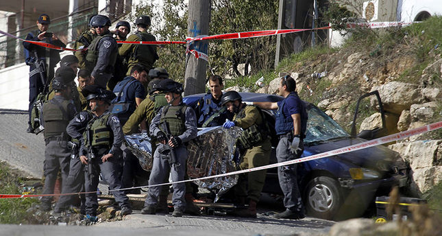 Israeli soldiers fatally shoot a Palestinian driver because he allegedly hit a soldier with his car (AA Photo)