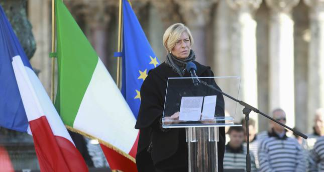 Italian Defence Minister Roberta Pinotti gives a speech during the State funeral for an Italian victim of Paris attacks, in Venice, Italy November 24, 2015. (REUTERS Photo)