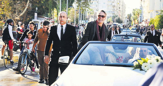 British actor Jeremy Irons attended the International  Antalya Film Festival's parade and greeted fans.