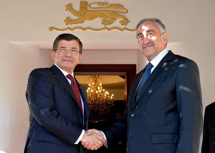 Prime Minister Ahmet Davutou011flu (Right) with Turkish Republic of Northern Cyprus President Mustafa Aku0131ncu0131
