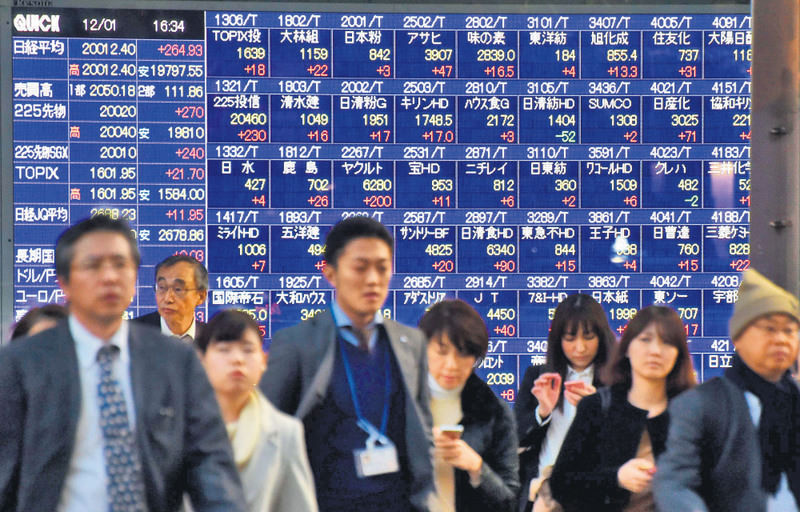 Pedestrians walk past a share prices board of the Tokyo Stock Exchange in Tokyo yesterday. Tokyo's benchmark stock index closed above the key 20,000 mark for the first time since late August thanks to upbeat data on investment by Japanese companies.