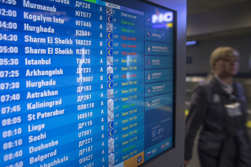 Flights to Sharm El Sheikh and Hurghada appear on a flight information board at Vnukovo airport outside Moscow, Russia, Saturday, Nov. 7, 2015. (AP Photo)