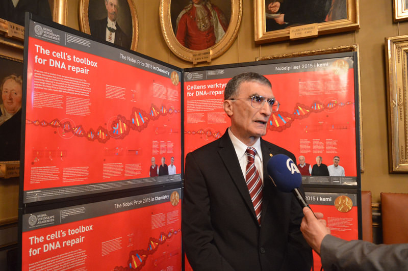 Nobel laureate in chemistry Aziz Sancar, looks on during a news conference at the Royal Swedish Academy of Science, Dec 7, 2015. (REUTERS Photo)