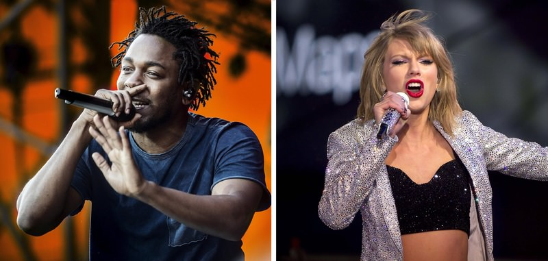 Photo shows singers Kendrick Lamar and Taylor Swift. (File Photo)
