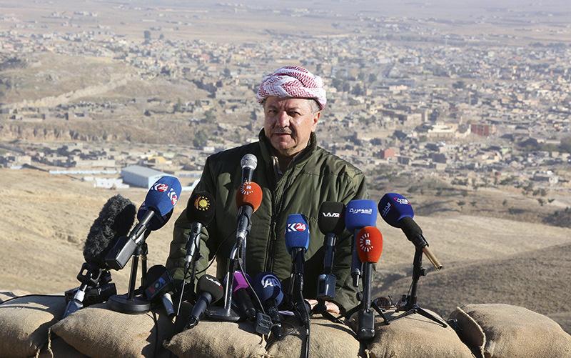 Iraqi Kurdish Regional President Massoud Barzani speaks during a news conference in the town of Sinjar, Iraq Nov 13, 2015 (Reuters photo)