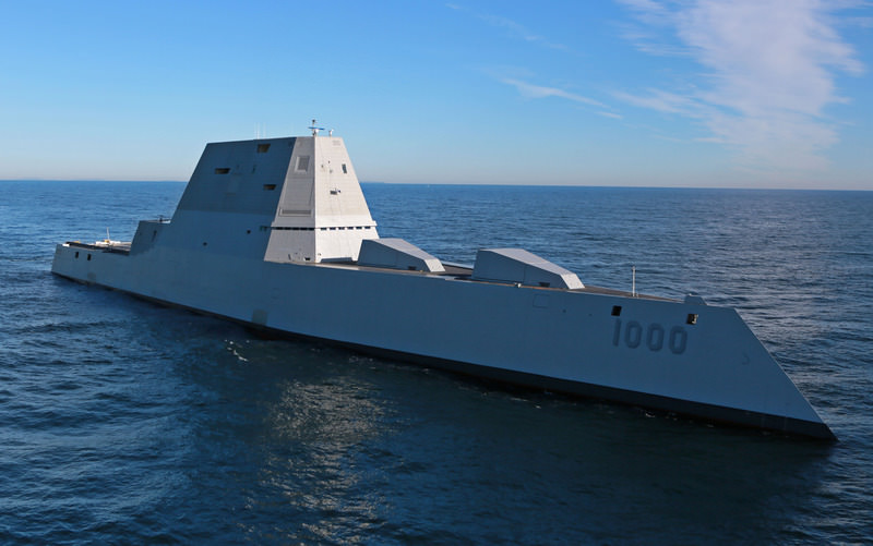 The USS Zumwalt leaves the Kennebec River, on Dec. 7, 2015. (AP Photo)