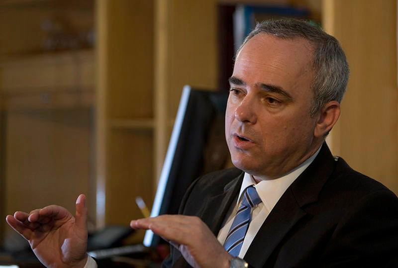 Yuval Steinitz speaks during an interview with Reuters in Jerusalem August 4, 2009.