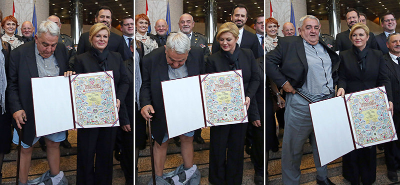 A combination of pictures made on December 8, 2015 Ivan Zvonimir Cicak's (L) looking down and pulling up his trousers (AFP photo)