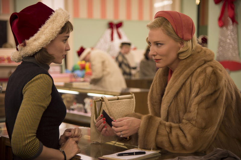 This photo provided by The Weinstein Company shows, Rooney Mara, left, as Therese Belivet, and Cate Blanchett, as Carol Aird, in a scene from the film, ,Carol., (AP Photo)