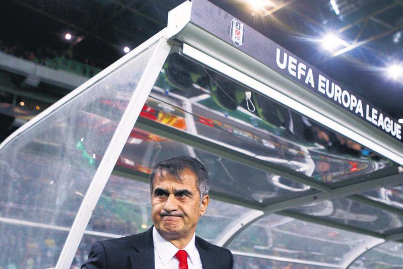 Beu015fiktau015f coach u015eenol Gu00fcneu015f looks frustratred in Thursday's game against Sporting Lisbon. (EPA Photo)