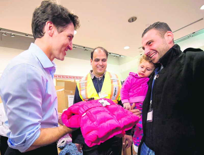 Canadian Prime Minister Justin Trudeau was looking so happy while greeting a Syrian refugee.