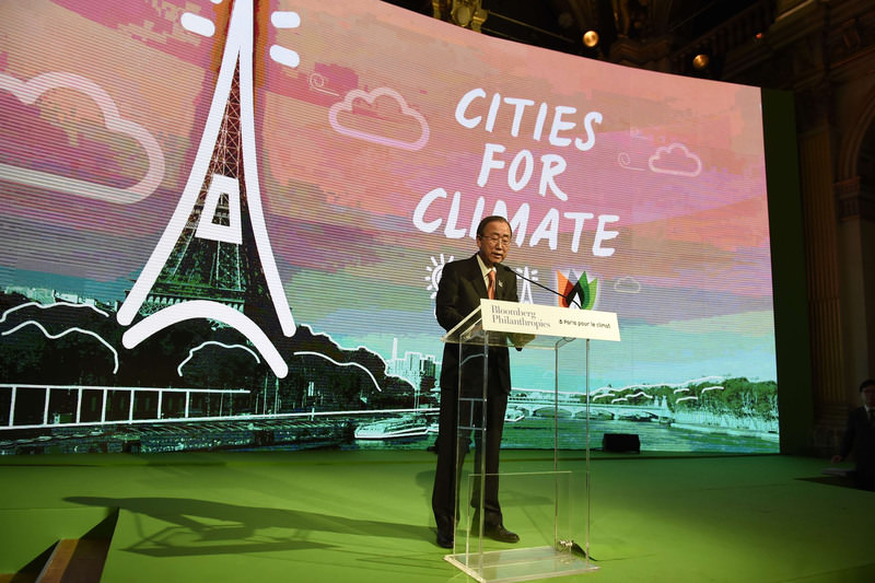 UN secretary general Ban ki Moon speaks during a meeting for new track investments for the climate as part of the World Climate Change Conference 2015. (AFP Photo)
