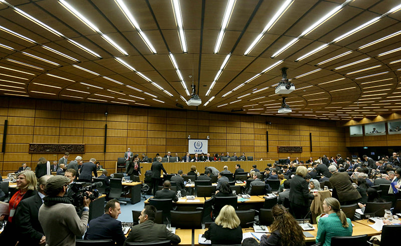 Delegates wait for the start of the board of governors meeting of the International Atomic Energy Agency, IAEA, at the International Centre in Vienna (AP Photo)