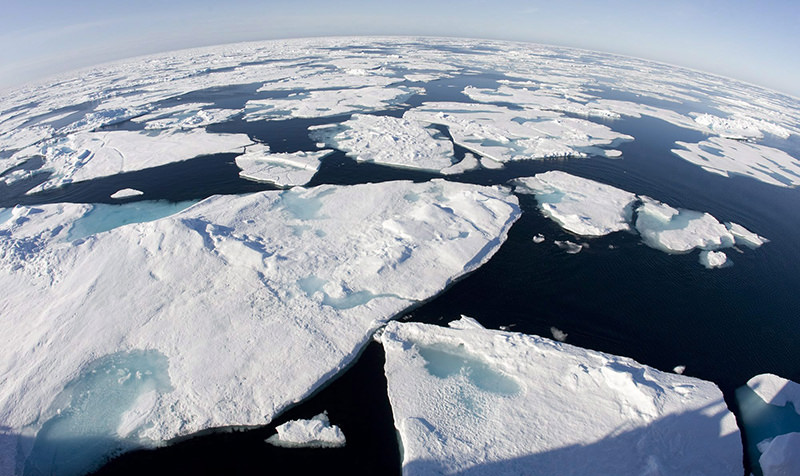 This July 10, 2008 file photo made with a fisheye lens shows ice floes in Baffin Bay above the Arctic Circle, seen from the Canadian Coast Guard icebreaker Louis S. St-Laurent (AP Photo)