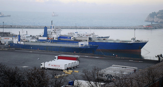 This picture dated December 9, 2015, shows withheld Russian ships Erke and Varyak in northern Turkish port of Zonguldak. IHA Photo