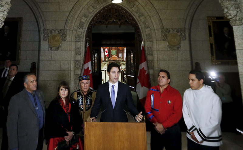 Canada's Prime Minister Justin Trudeau speaks during a news conference with aboriginal leaders on Parliament Hill in Ottawa, Canada, December 16, 2015 (Reuters Photo)