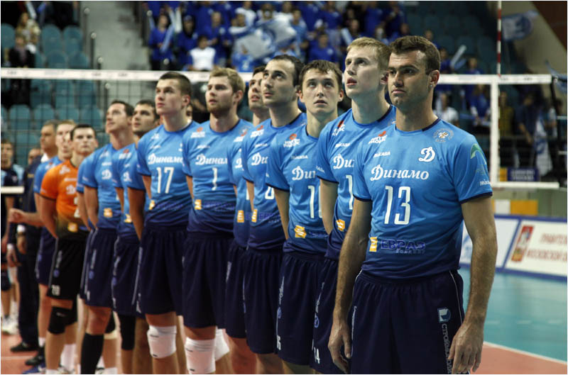 Photo from 2012 CEV Champions League shows Russian volleyball team Dinamo Moscow.