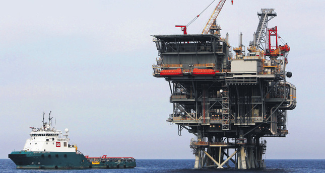 An Israeli natural gas platform is seen in the Mediterranean Sea, west of the port city of Ashdod.