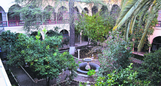 The Ottoman Palace Features A Huge Garden With An Ornamental Pool And  Various Types Of Trees