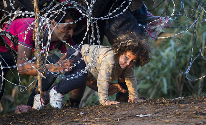a child is helped cross from Serbia to Hungary through the barbed wire fence near Roszke, southern Hungary (AP Photo)
