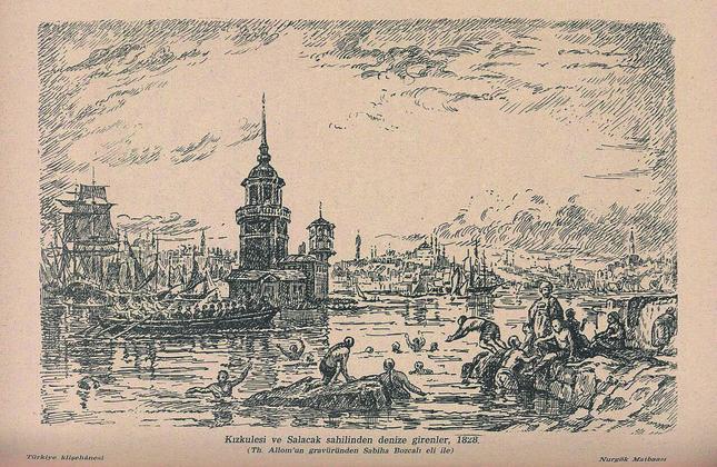 People swim on the Salacak Coast in Üsküdar.  Sabiha Bozcalı's illustration of Thomas Allom's engraving.
