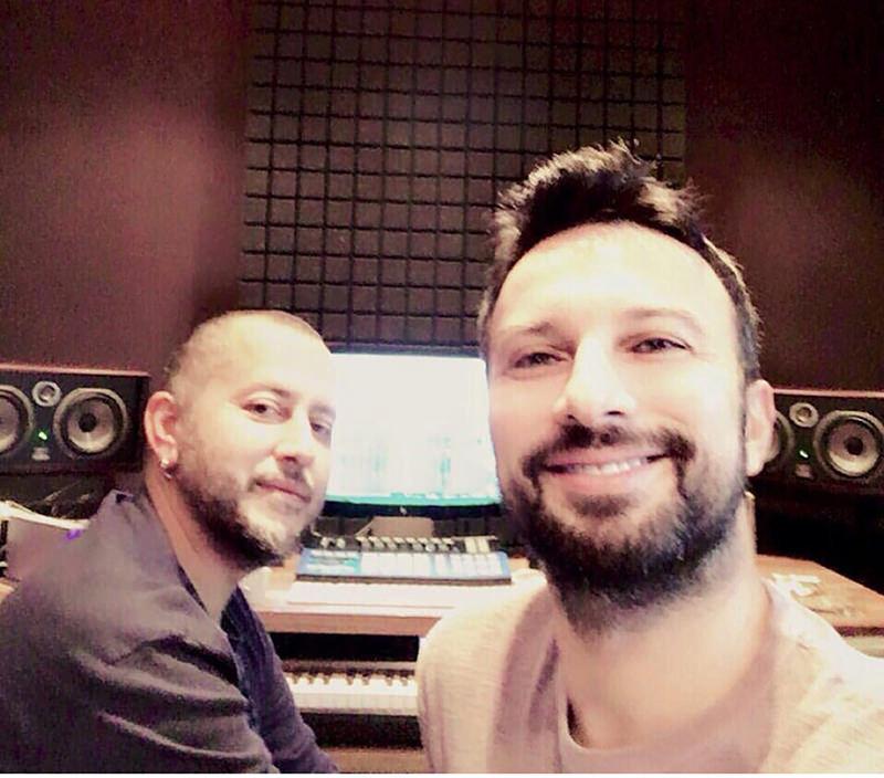 Tarkan (R) and his arranger Ozan u00c7olakou011flu are all smiles in the studio. (FILE Photo)