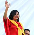 In this Friday, Jan. 1, 2016 photo, Gisela Mota waves during her swearing in ceremony as mayor of Temixco, Morelos State (AP Photo)