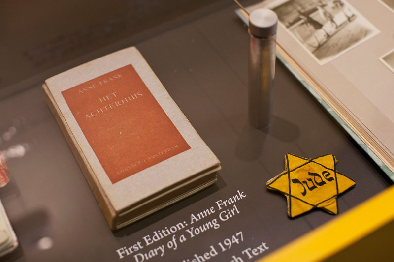 This file photo taken on March 26, 2012 shows a copy of the first edition of ,Anne Frank: Diary of a Young Girl, displayed at Anne Frank Center in New York City (AFP)