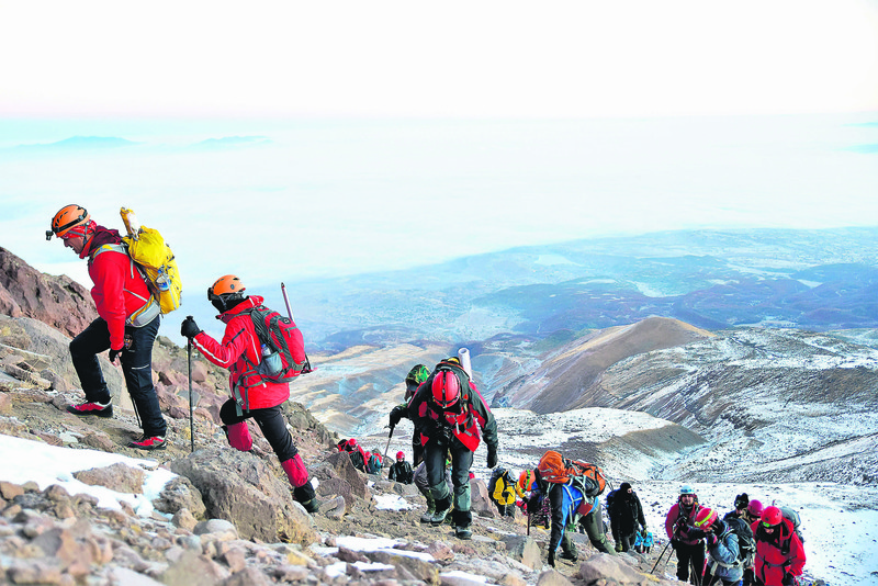 A group of mountaineers head up to the Mt. Hasan, whose slopes offer an unprecedented view over the central Anatolian plateau.