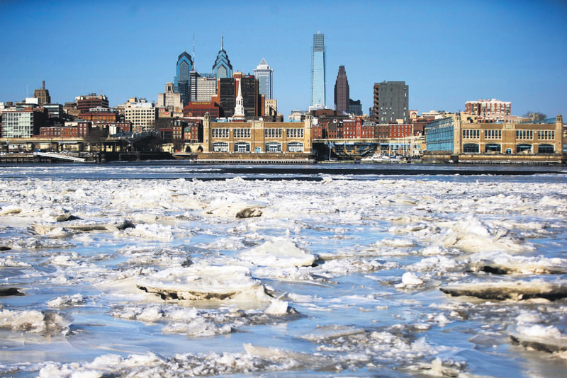 Ice collects on the Delaware River in view of Philadelphia, PA. Last year saw the lowest financial costs from natural disasters worldwide since 2009 as the El Nino phenomenon reduced hurricane activity in the N. Atlantic. (AP Photo)