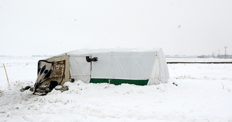 The tent where the 4-month old Syrian refugee baby Fares Hader Ali froze to death, Batman, Turkey (AA Photo)