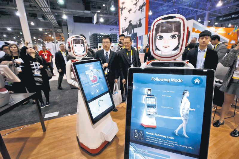 Furo-D robots created by South Korean-based Future Robot are shown during the 2016 CES trade show in Las Vegas. The advertising service robots can both provide and collect information.