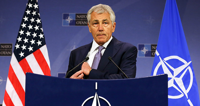 A file picture dated 05 June 2013 shows US Secretary of Defense Chuck Hagel holding a press conference after a meeting of Ministers of Defense, at the NATO headquarters in Brussels (EPA Photo)