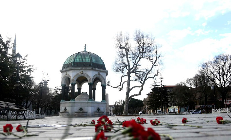 Carnations are left at the site of Tuesday's suicide attacks by DAESH in the historic Sultanahmet Square in Istanbul