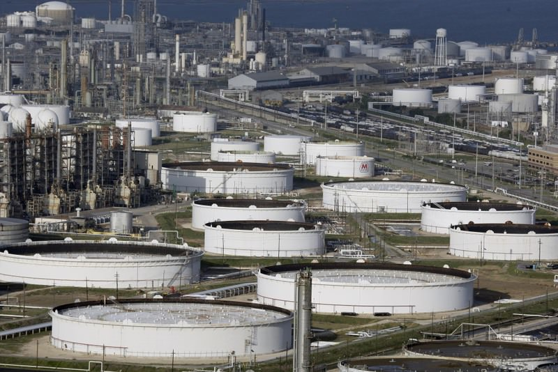This file photo dated Sept. 11, 2008, shows Marathon Oil's refinery in Texas City, Texas. Seven of the 10 biggest losers in the S&P 500 in 2015 were energy companies.