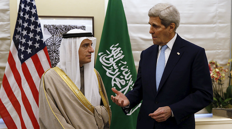 U.S. Secretary of State John Kerry speaks during his meeting with Saudi Arabia's Foreign Minister Adel al-Jubeir in London January 14, 2016 (Reuters Photo)