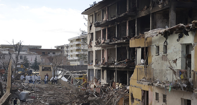 Buildings near Diyarbakır's Çınar Police Department damaged by PKK terror attack (AA Photo)