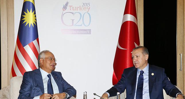 President Recep Tayyip Erdoğan with Malaysian Prime Minister Najib Razak at the G20 Summit in Antalya AA Photo