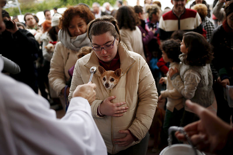 A woman holds her dog as it is blessed by a priest outside San Anton Church in the neighborhood of Churriana, in Malaga (Reuters)