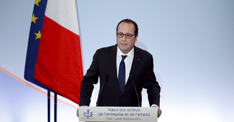 French President Francois Hollande delivers his speech as he presents his New Year's greetings to Employment and Unions forces at the Economic, Social and Environemental Council in Paris (EPA Photo)