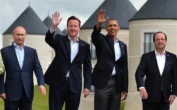 President Vladimir Putin, Prime Minister David Cameron, President Barack Obama and President Francois Hollande from the anti-Daesh coalition. (AFP Photo)